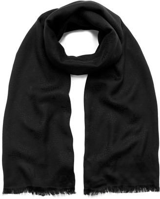 Mulberry Tree Rectangular Scarf Black Silk Cotton
