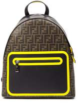 Fendi Brown And Yellow Backpack With Monogram