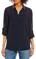 MICHAEL Michael Kors Dome Stud Embellished Collar Roll Sleeve Georgette Shirt