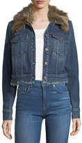 7 For All Mankind Cropped Button-Front Boyfriend Denim Jacket w/ Faux Fur