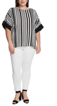 Vince Camuto Plus Size Variegated Stripe Top