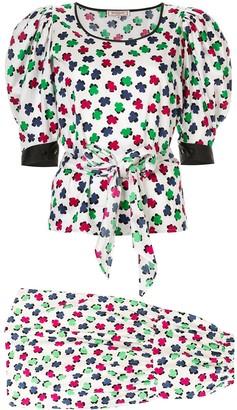 Saint Laurent Pre-Owned cloverleaf pattern skirt & blouse set