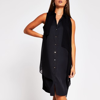 River Island Womens Black longline asymmetric dress