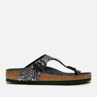 Birkenstock Women's Gizeh Toe-Post Leather Sandals - Metallic Stones Black