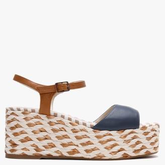 Carmen Saiz Navy Leather Woven Mid Wedge Sandals