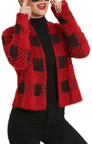 August Silk Red Buffalo Check Textured Open Cardigan