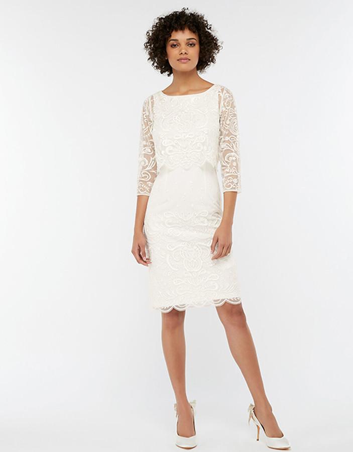 Under Armour Camilla Embellished 2 Piece Short Wedding Dress Ivory