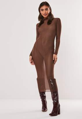 Missguided Brown Mesh High Neck Bodycon Midi Dress