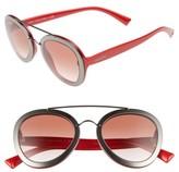 Valentino Garavani Women's Valentino 58Mm Round Sunglasses - Dark Shiny Ruthenium