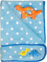 Cutie Pie Baby Blue Polka Dot Dinosaur Blanket & Toy Set