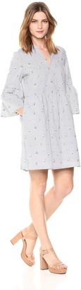 Cooper & Ella Women's Pinstripe Suze Shirting Dress Black/White Medium