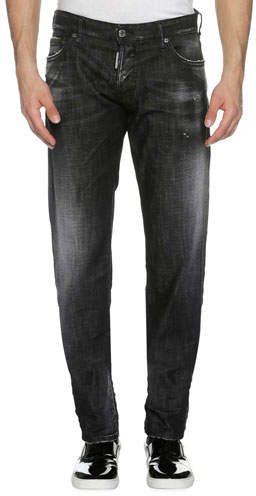 DSQUARED2 Faded Denim Slim Jeans, Soft Night (Black)