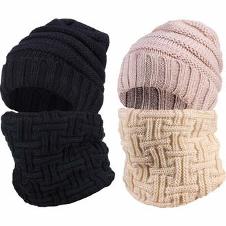 Satinior 2 Set Oversized Slouchy Beanie Hat and Matching Infinity Scarf Winter Loop Scarf