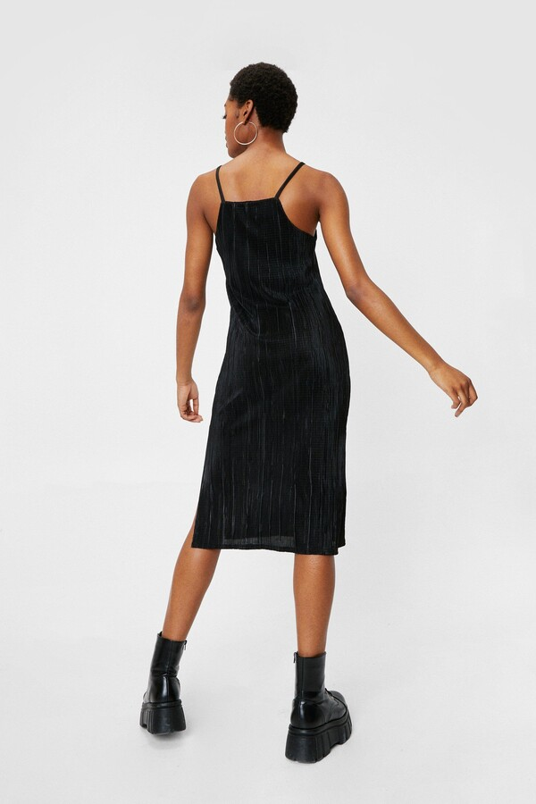 Thumbnail for your product : Nasty Gal Womens Strappy Plisse Slit Midi Dress - Black - 4