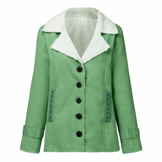 MINGGER Warm Jacket Winter Coat Womens Composite Plush Lapel Button Long Sleeve Fashion Jackets Green