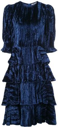Batsheva Velvet Tiered Ruffle Dress