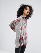 Religion Sheer Shirt In Floral Print