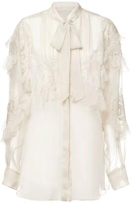 Valentino Silk Chiffon Shirt W/ Front Self-Tie