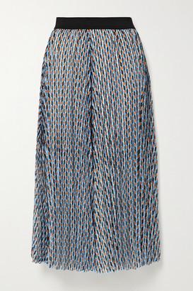 Maje Pleated Metallic Printed Georgette Midi Skirt - Light blue
