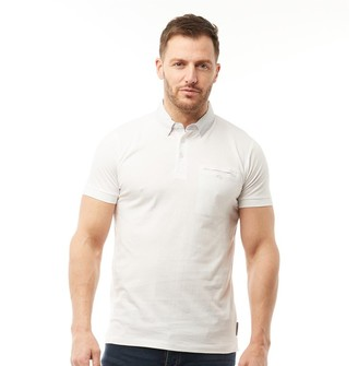 French Connection Mens Woven Collar Polo White