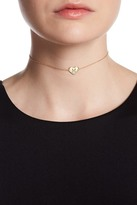 Argentovivo 18K Yellow Gold Plated Sterling Silver 'M' Initial Choker Necklace