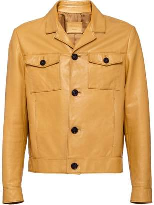 button-down leather jacket