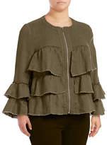 I.N.C International Concepts Plus Raw Ruffle Linen Jacket