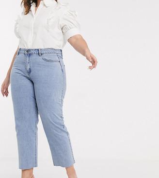 Lost Ink Plus Lost Ink plus high waist straight leg jeans in light wash denim-Blue