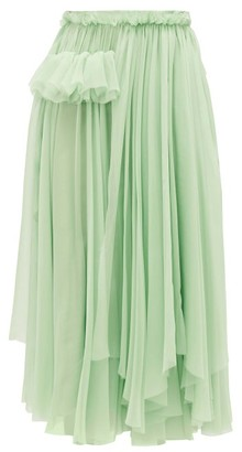 Rochas Ruffle-trimmed Silk-chiffon Skirt - Light Green