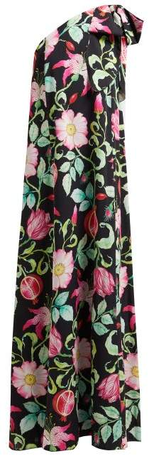 Andrew Gn Pomegrante And Floral Print Asymmetric Silk Gown - Womens - Black Multi