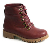 Deep Red Hook-Lace Boot