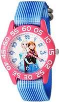 Disney Girl's 'Frozen' Quartz Plastic and Nylon Watch, Color:Blue (Model: W002992)