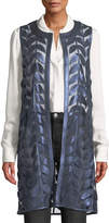 Neiman Marcus Leather Collection Lambskin Leather Leaf Vest