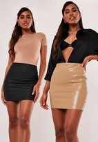 Missguided Black And Nude Faux Leather Mini Skirt 2 Pack