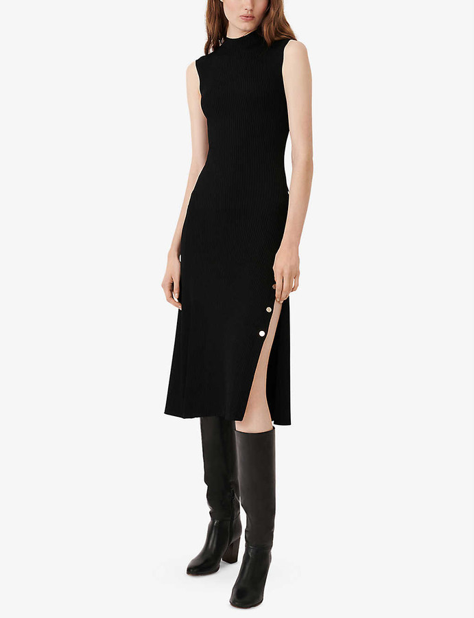 Maje Roxie button slit woven midi dress