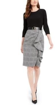 Calvin Klein Ruffled Plaid Sheath Dress