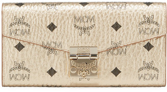 MCM Patricia Visetos Large Two-Fold Flap Wallet On Chain