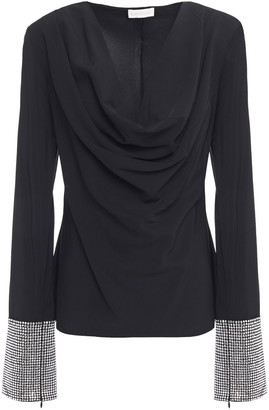 Ronny Kobo Sandra Draped Sequin-embellished Crepe De Chine Blouse