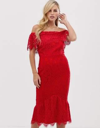 Little Mistress bardot neck lace midi dress-Red