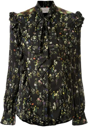 Preen by Thornton Bregazzi Tie Neck Ruffled Trim Floral Blouse