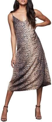 Good American Satin Leopard-Print Slip Dress