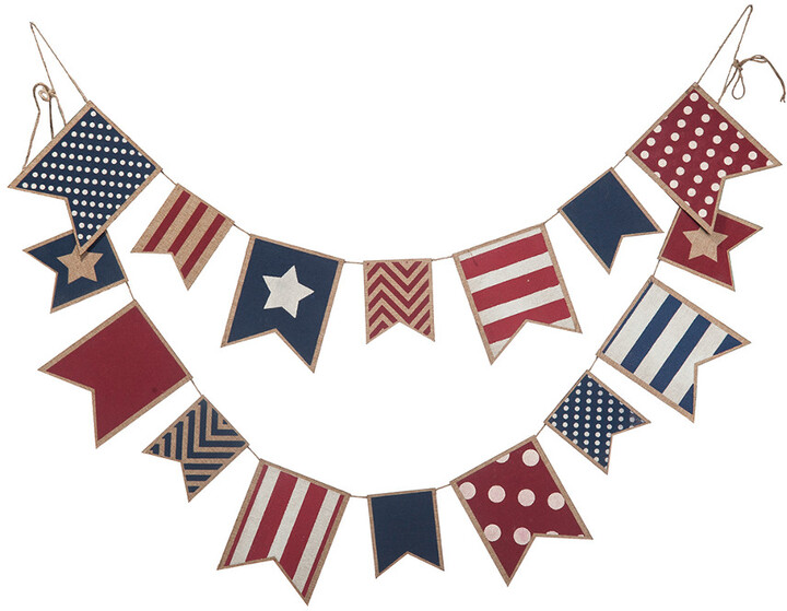Transpac Wood Multicolor 4Th Of July Americana Banner