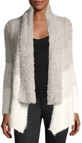 Joan Vass Eyelash-Knit Open-Front Cardigan