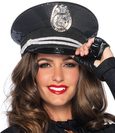 Leg Avenue Black Sequin Cop Hat
