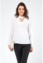 Select Fashion Fashion Cross Front Crepe Long Sleeve Shirts - size 6