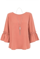 Quiz Terracotta Frill Sleeve Necklace Top