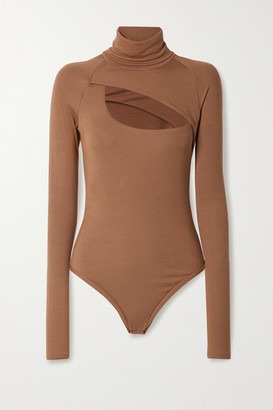 Alix Carder Cutout Ribbed Stretch-modal Jersey Thong Bodysuit - Light brown