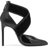 Lanvin Matelassé Velvet And Leather Pumps - Black