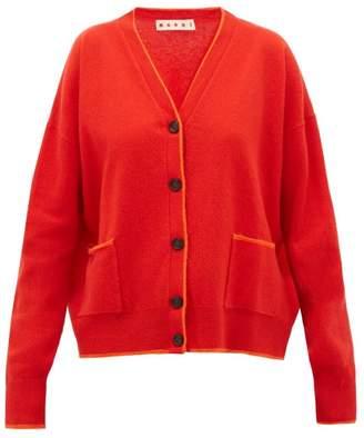 Marni Contrast-edge Wool-blend Cardigan - Womens - Red Multi