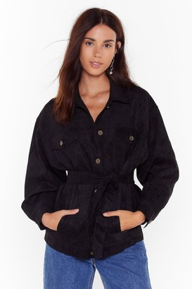 Nasty Gal Womens Suede For You Button-Down Faux Suede Jacket - Black - S